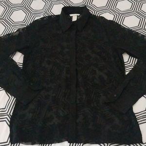 H&M Black Sheer Star Printed Button Down Blouse